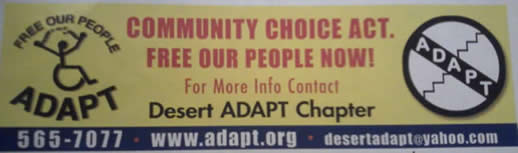 El Paso Billboard supporting Desert ADAPT & Community Choice Act.  Old and new ADAPT logos