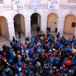 ADAPTers fill the rotunda in the Cannon House Office Building calling for stopping cuts to Medicaid Community Based Services. Most are wearing bright blue ADAPT shirts