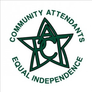 A green star with the letters PACT inside. In a circle around the star are the words community attendants equal independence.